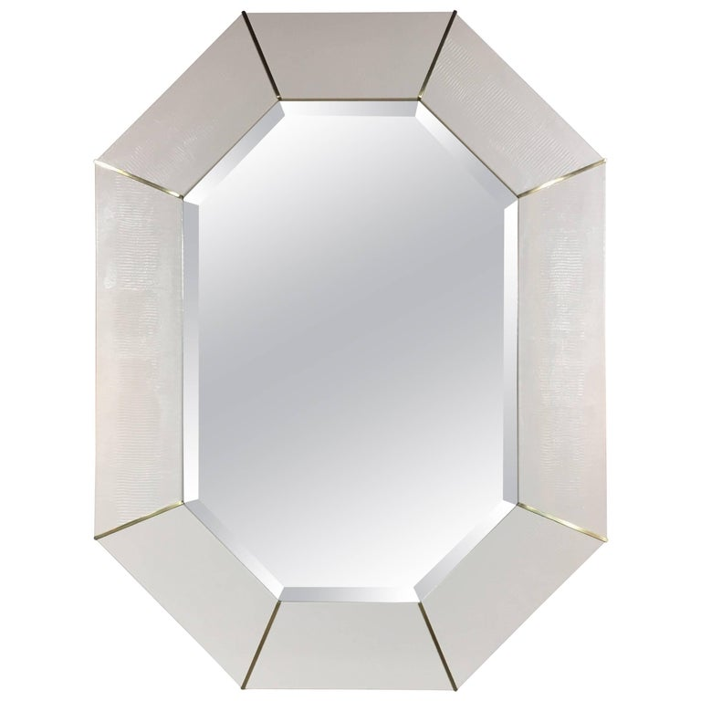 Karl Springer White Lacquered Snake Skin Embossed Designed Mirror