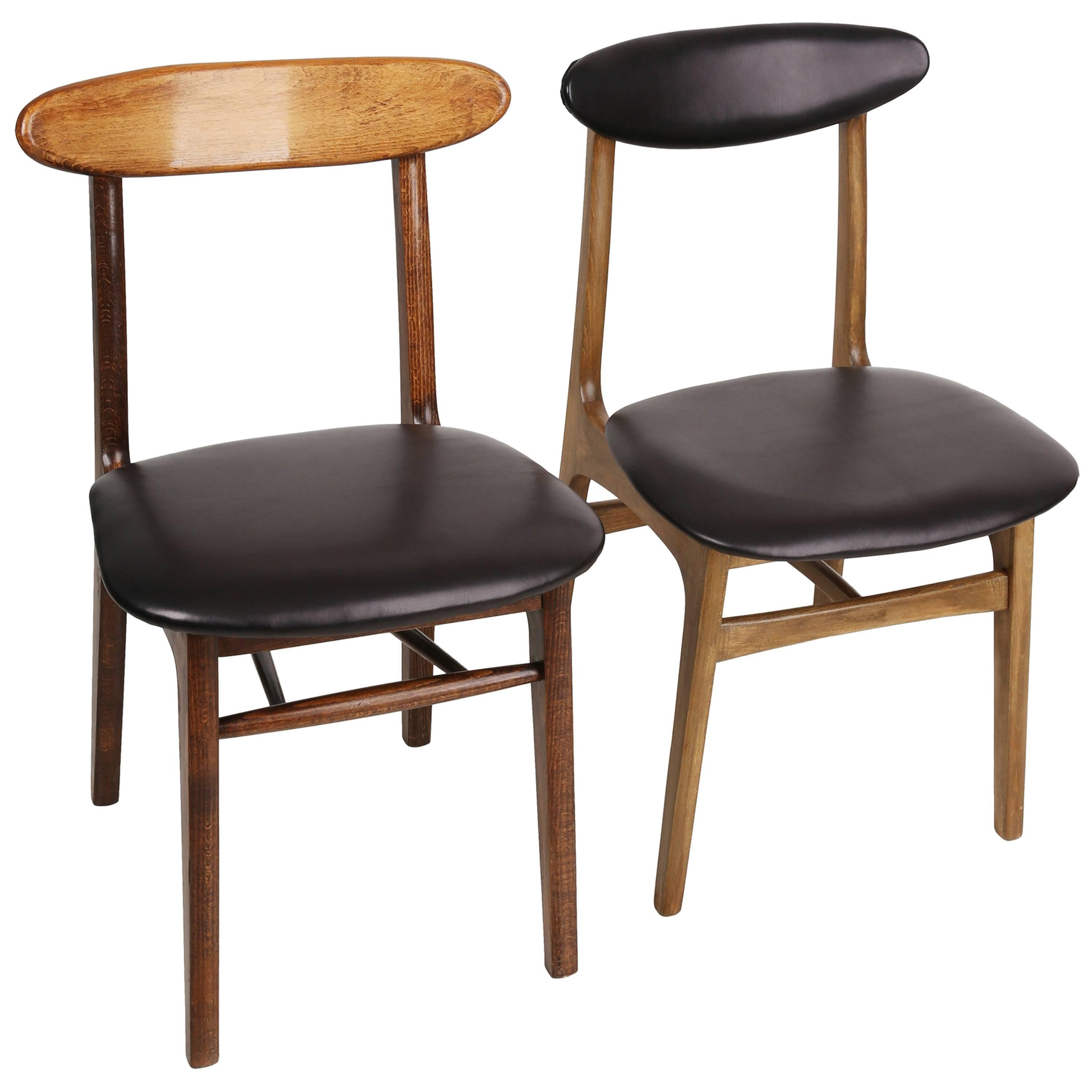Set of Two Leather 20th Century Black Chairs, 1960s