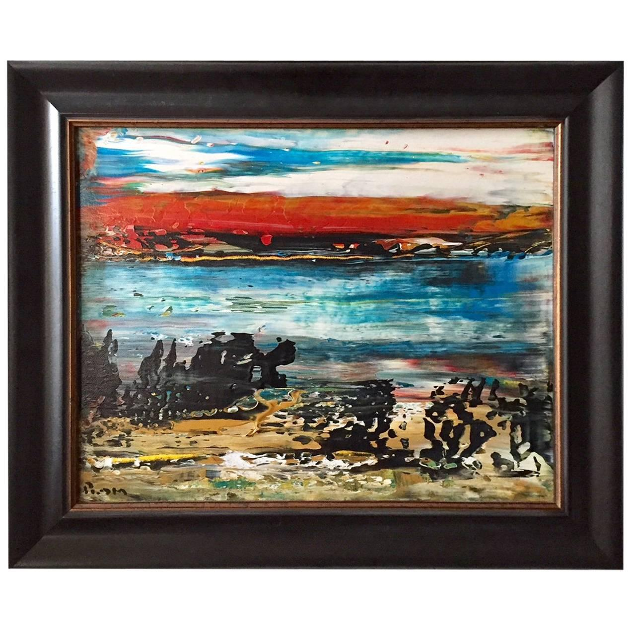 """Matanzas Playa"" Abstract Acrylic on Canvas Painting Andrew Plum"