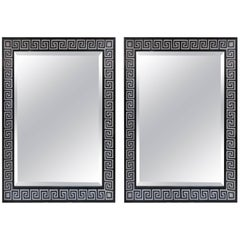 Bespoke Pair of Hand-Decorated Mirrors Featuring Greek Key Pattern