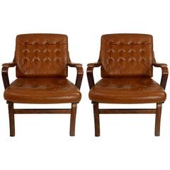 Pair of Scandinavian Midcentury Modern Wood and Leather Armchairs by Göte Möbel
