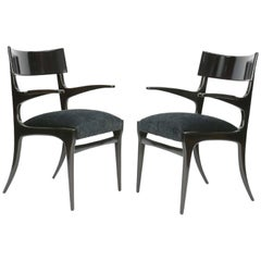 Pair of Elegant and Classic Italian Klismos Armchairs after Robsjohn-Gibbings