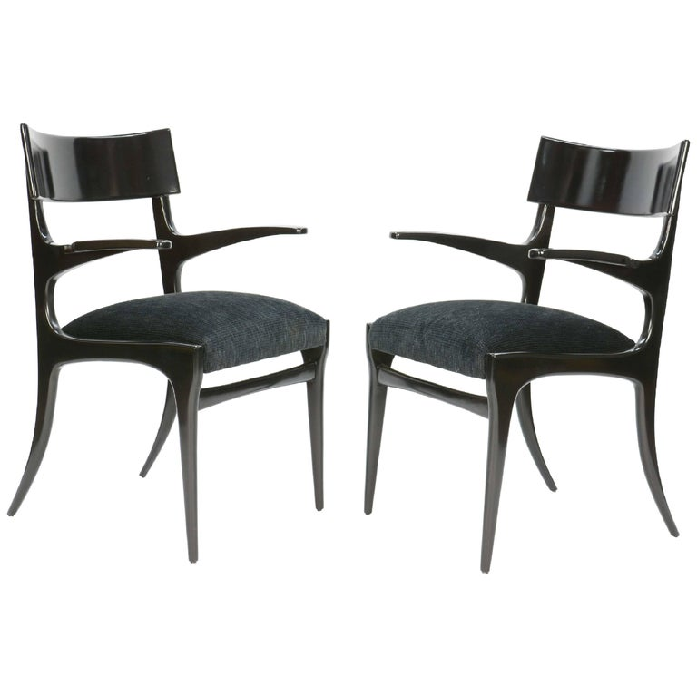 Pair of Elegant and Classic Italian Klismos Armchairs after Robsjohn-Gibbings
