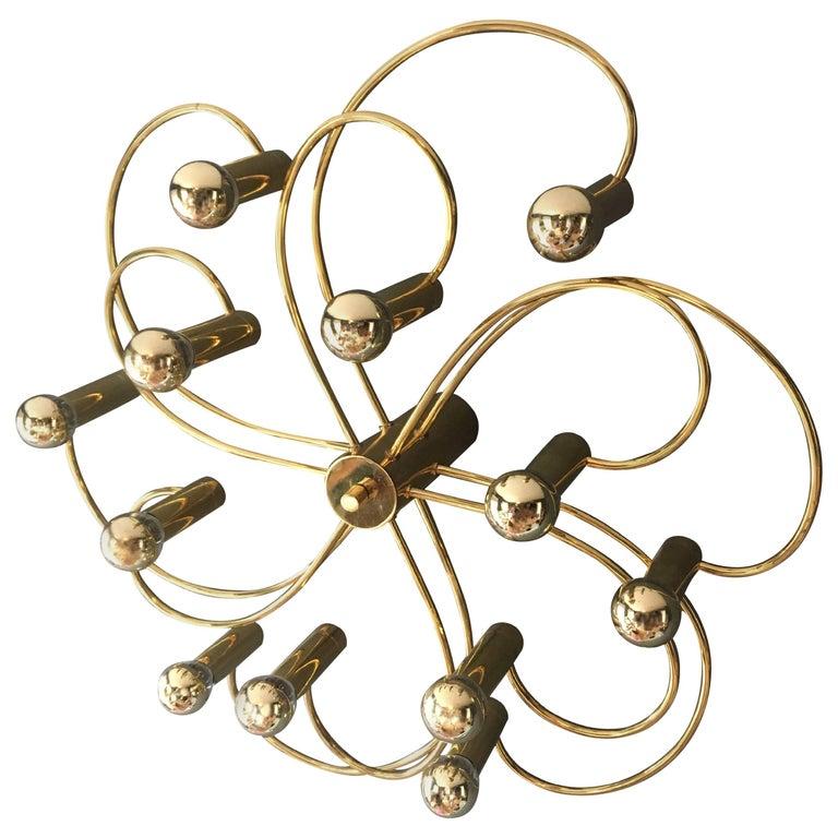 Gaetano Sciolari for Silkronen Brass Ceiling Light, 1960s
