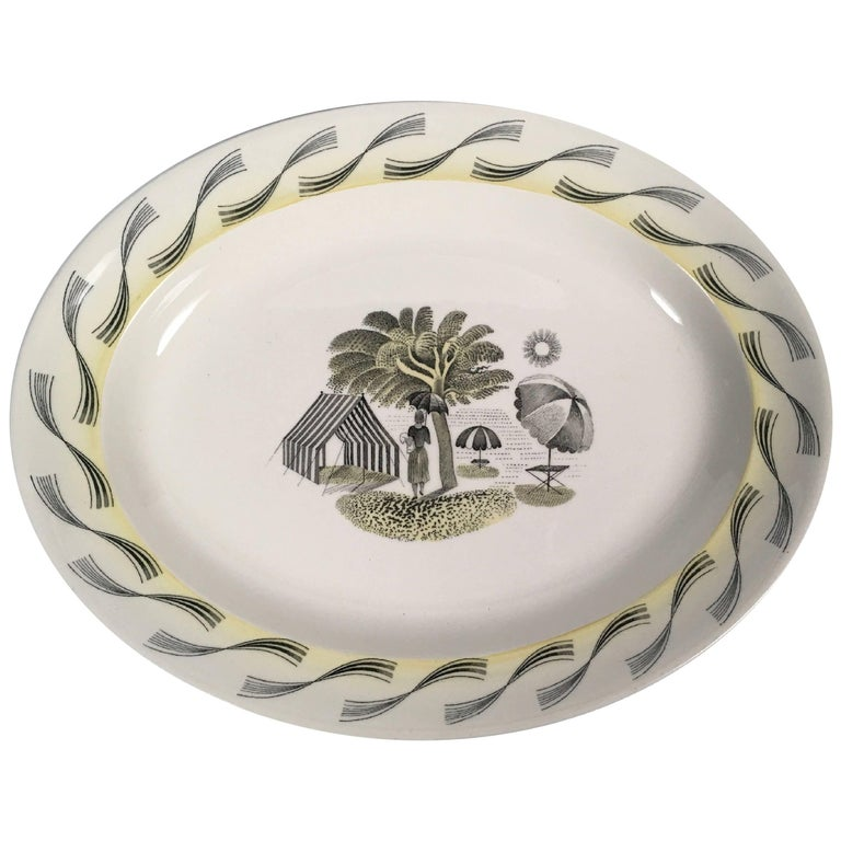 Eric Ravilious Wedgwood Garden Series Oval Platter with Woman and Umbrellas For Sale