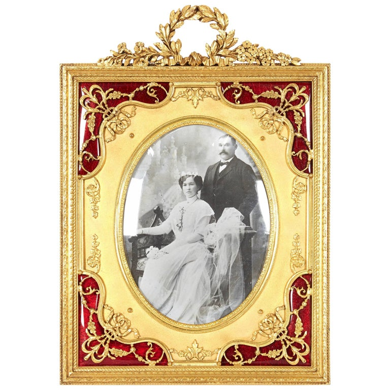 French Gilt Bronze Ormolu and Red Guilloche Enamel Picture Photo Frame