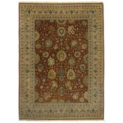 Vintage Indian Rug with Traditional Style and All-Over Floral Design