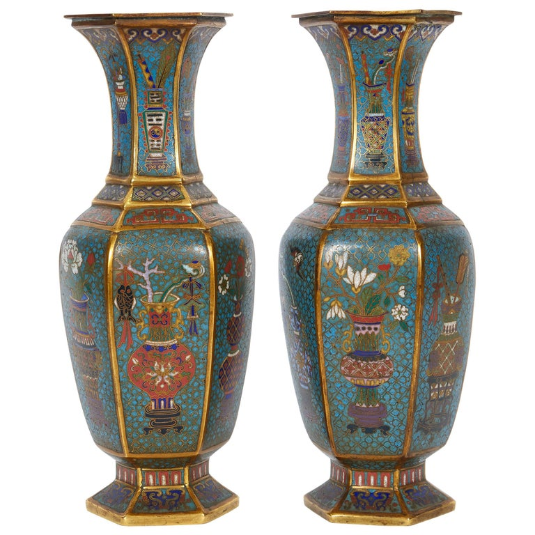 Pair of Blue Chinese Cloisonne Enamel Vases, Qing Dynasty, Qianlong Period