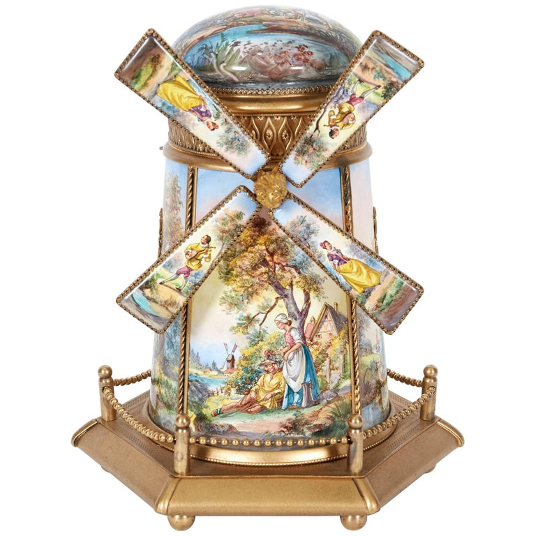 Large Antique Viennese Austrian Enamel And Bronze Windmill Musical Jewelry Box For