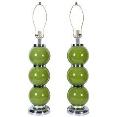 Pair of Modern Chrome Lime Green Stacked Ball Table Lamps USA, circa 1970