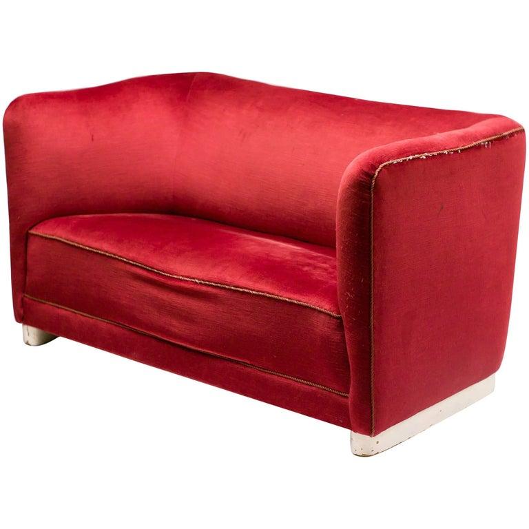 Red Velvet Sofa by Ole Wanscher for Fritz Hansen