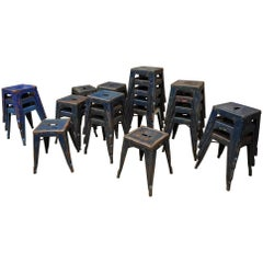 Vintage Air French Army Old Blue Iron Tolix Stools, 1950s