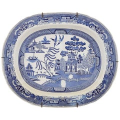Staffordshire Pottery Blue & White Printed Chinoiserie Dish, circa 1840-1850
