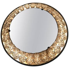 Round Italian Floral Backlit Mirror
