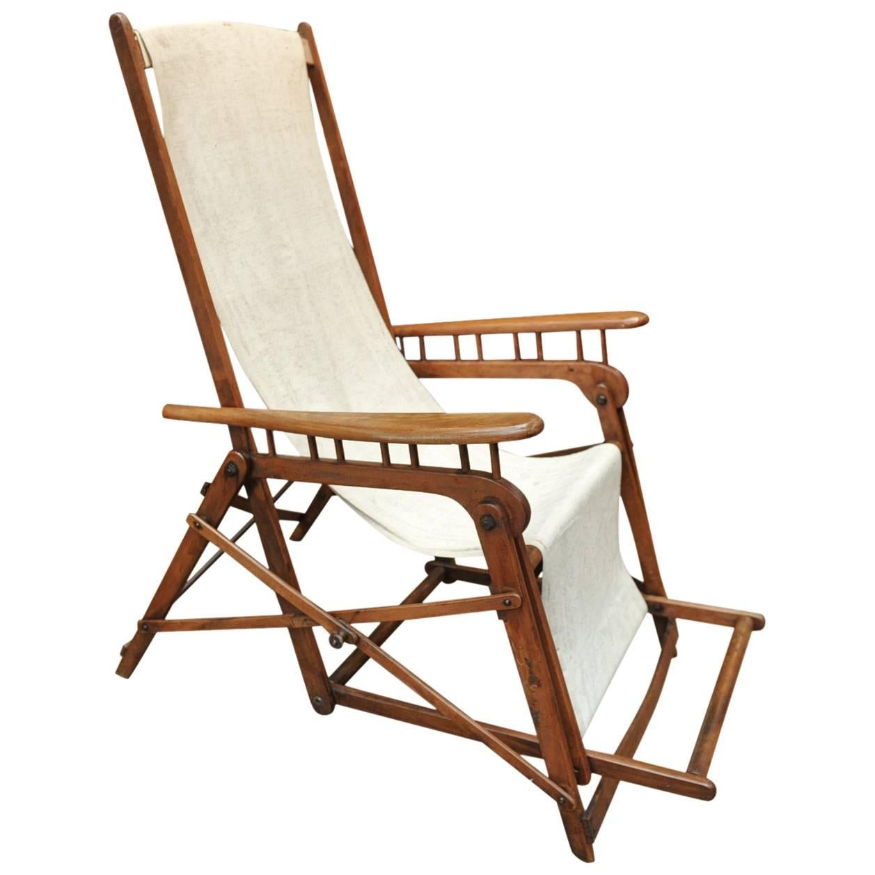 By Asca System Longue French Folding Chair 1920s H29EDWI