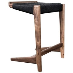 "Walnut Cantilever Barstool, 26""H, Woven Black Danish Cord, Mid-Century Inspired"