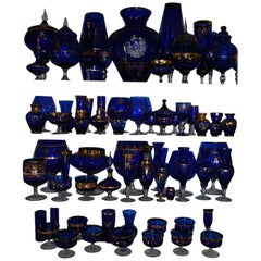 Large Set of Vintage Bohemian Blue Art Glass
