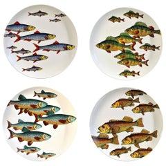 Piero Fornasetti Pottery Fish Plates, Passata De Pesce 'Passage of Fish'