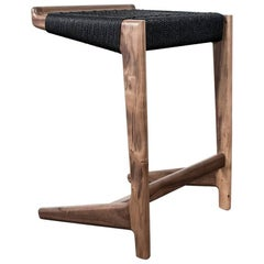 "Walnut Cantilever Barstool, 29""H, Woven Black Danish Cord, Mid-Century Inspired"
