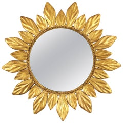 Gilt Iron Leaf Design Mini Sunburst Mirror, Spain, 1950s