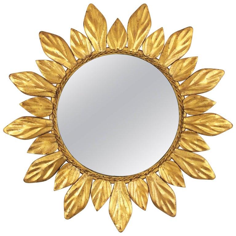 Gilt Iron Leaf Design Mini Sunburst Mirror, Spain, 1950s
