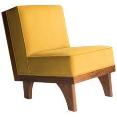Michael van Beuren Lounge Chair in Walnut and Yellow Velvet Upholstery