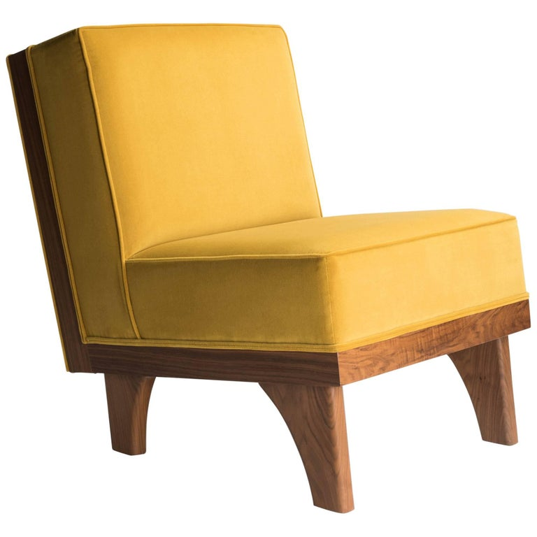 Line Lounge Chair in Walnut and Yellow Velvet Upholstery by Luteca For Sale