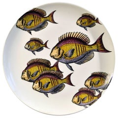 Piero Fornasetti Pottery Fish Plate, Passata De Pesce 'Passage of Fish'