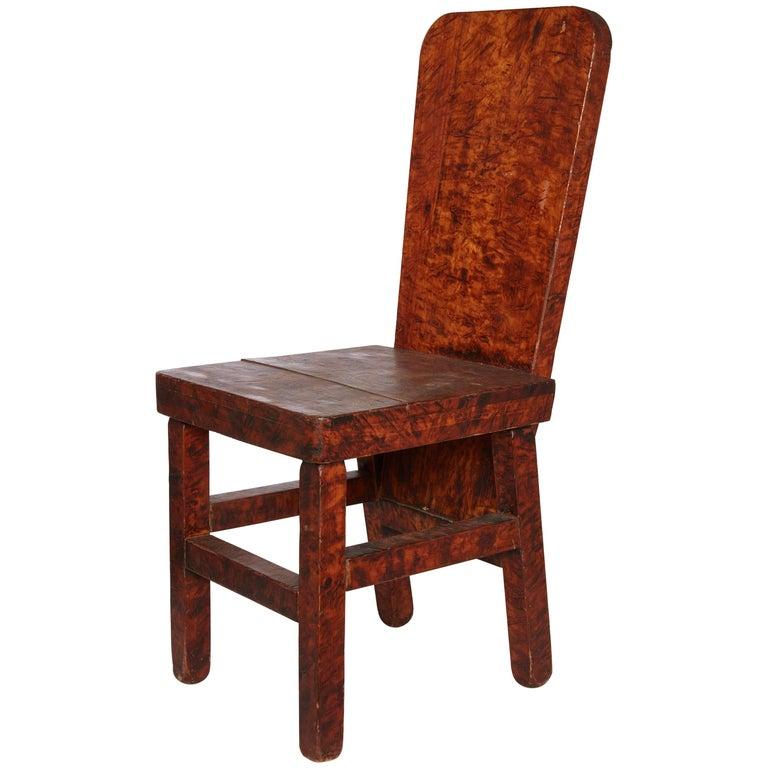 Late 19th Century American Handmade Burled Wood Chair