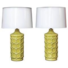 Pair of Yellow Ceramic Honeycomb Lamps