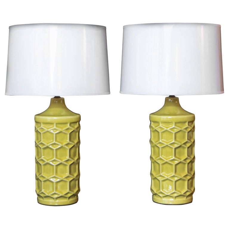 Pair of Yellow Ceramic Honeycomb Lamps For Sale