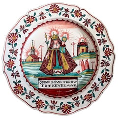 Dutch Decorated English Creamware Plate, Onse Live Vrouw Tot Kevelaar