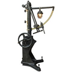 L.Casin Lille, 1920s Pressure Monitor Cast Iron Machine in Floor Lampe