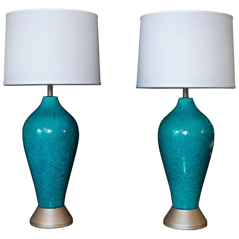 Extra Tall Turquoise Pottery Lamps with Gold Toned Base For Sale