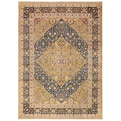 Antique Room Size Diamond Design Persian Kerman Rug