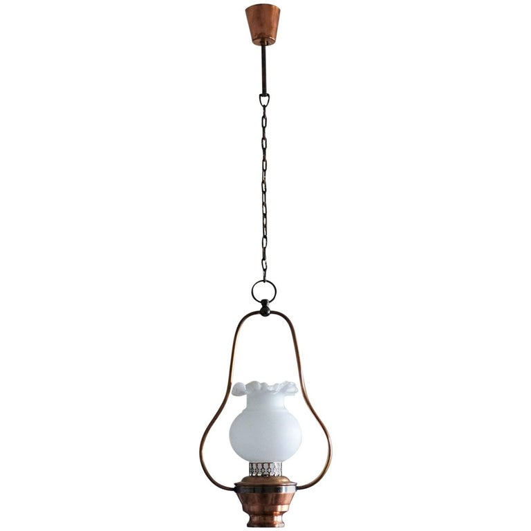 Copper and Opaline Glass Pendant, Lantern