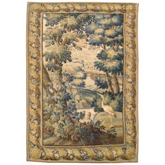 Antique 17th Century Flemish Verdure Tapestry, with Exotic Birds in a Landscape