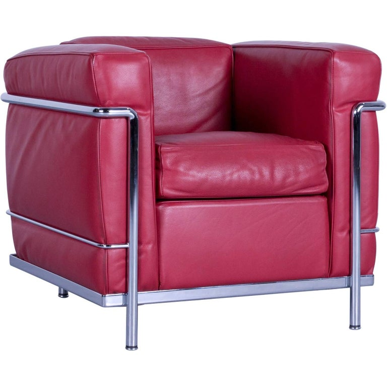 Cassina Le Corbusier LC 2 Chair in Red Leather