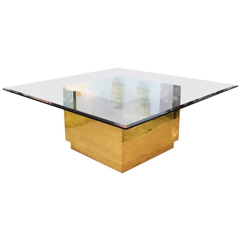 Large Brass Block Base Dining Table