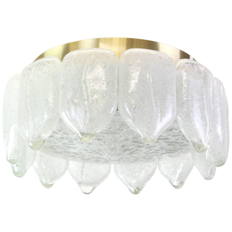 Stunning Murano Ice Glass Flush Mount by Doria, Germany, 1960s