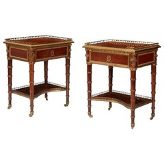 Pair of French Louis XVI Bronze Mounted End Tables