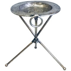 French Mid-Century Modern Neoclassical Silvered Brass Side Table or Gueridon