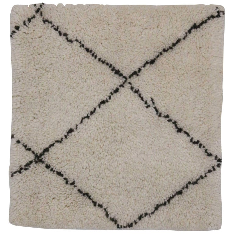Ivory and Dark Brown Modern Moroccan Style Accent Rug