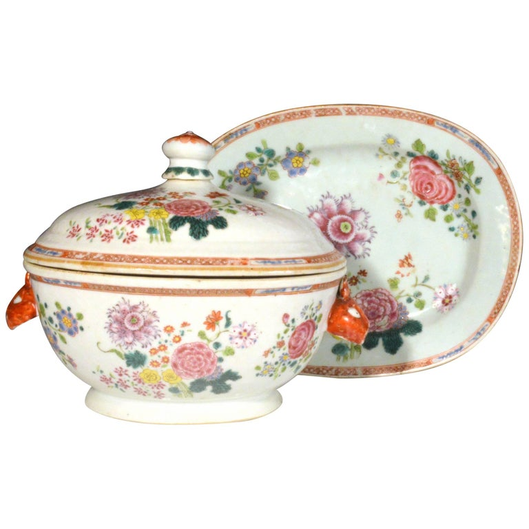 Chinese Export Famille Rose Tureen, Cover and a Stand, circa 1765