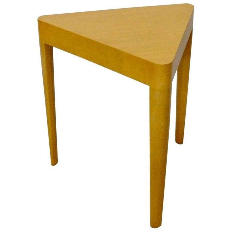 Early Edward Wormley Dunbar Blonde Triangle Top Side Table