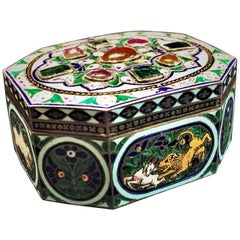 Antique Indian Enameled Silver Snuffbox with Hunting Scenes, circa 1890s