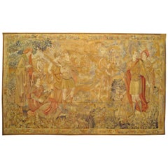 Late 19th Century French Loomed Tapestry, with Hunting Party in a Forest Setting