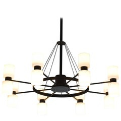Large Chandelier in Black Metal and Opaline Glass