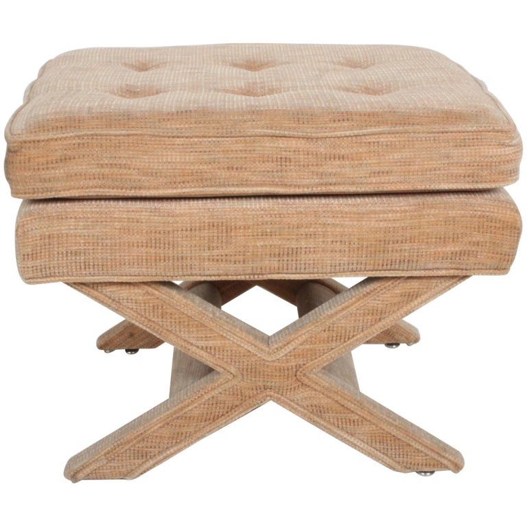 Billy Baldwin Style X-Base Stool or Ottoman