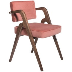 Walnut and Pink Velvet Contemporary Dining Chair by LUTECA, Made to Order